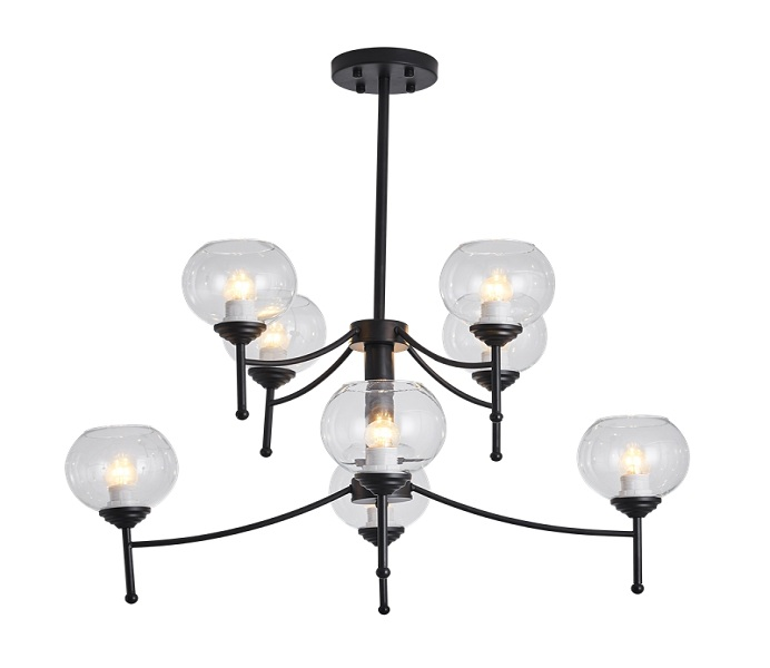 8 Lights Black Upward Iron Chandelier with Glass