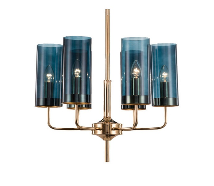 Gold Iron 6 Lights E14 Chandelier with Dark Blue Glass