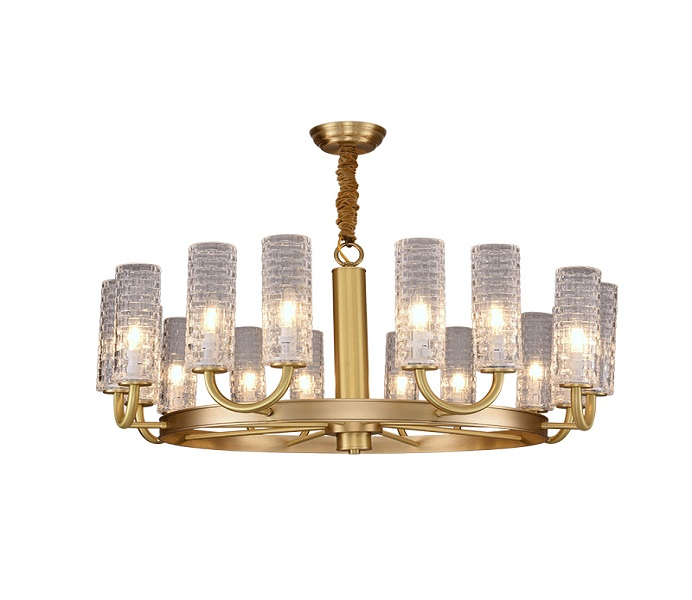 Circle Brass Gold 8 Lights Chandelier with Glass