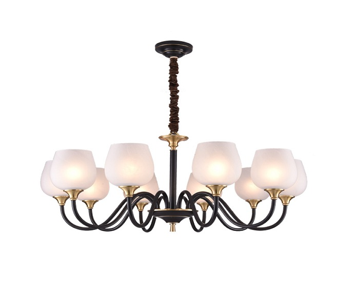 Black 10 Lights Dia900 Brass Chandelier with Glass