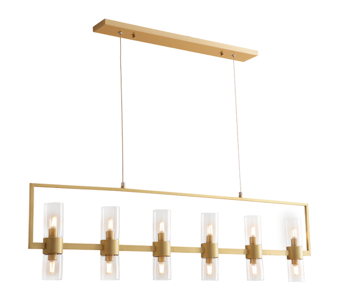 Gold Brass 6 Lights Chandelier with Glass