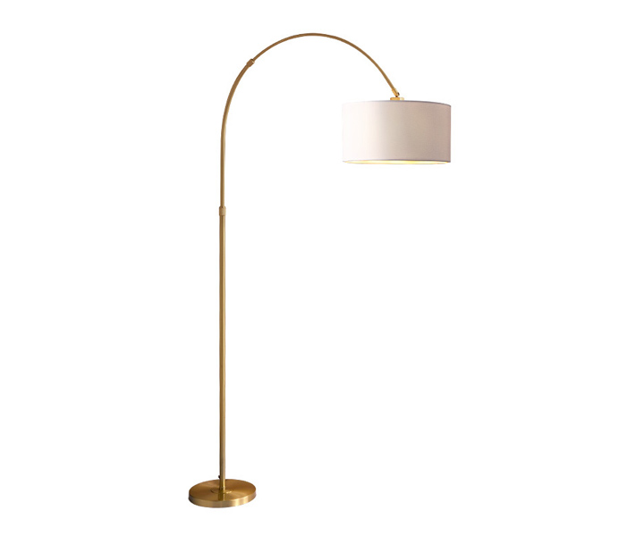 Brass E27 Floor Lamp with White Lampshade