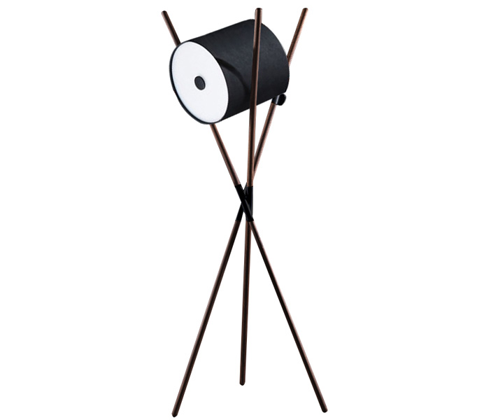 Wood Tripods Floor Lamp with White Acrylic Shade