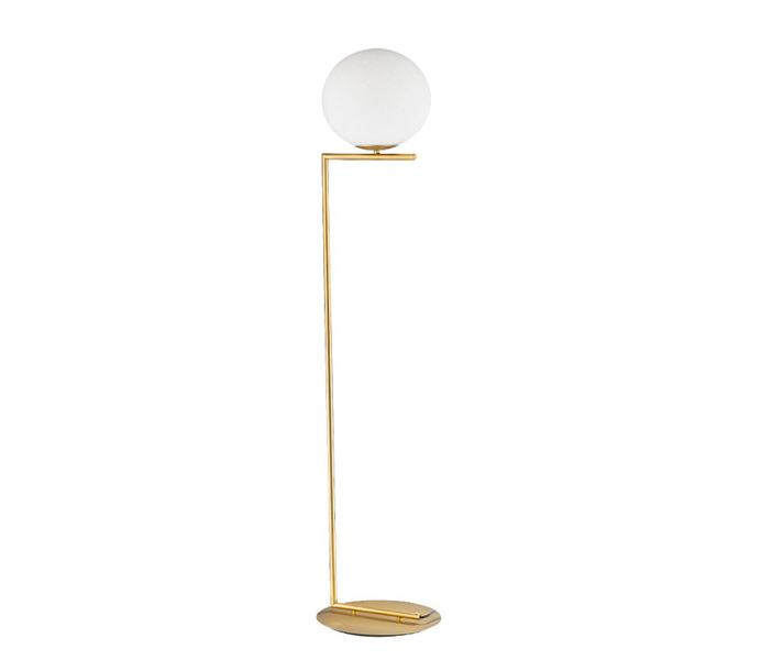 Gold Simple Floor Light with White Glass Shade