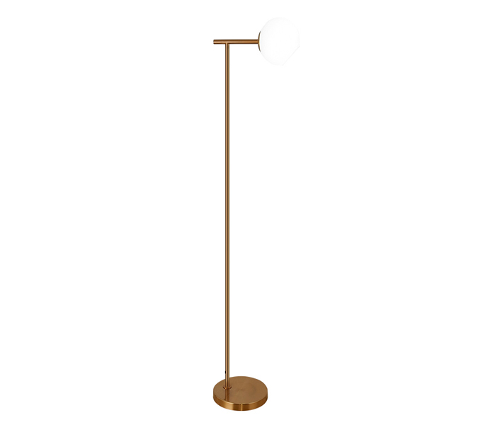 Light Brass Finish Floor Lamp with Glass Shade