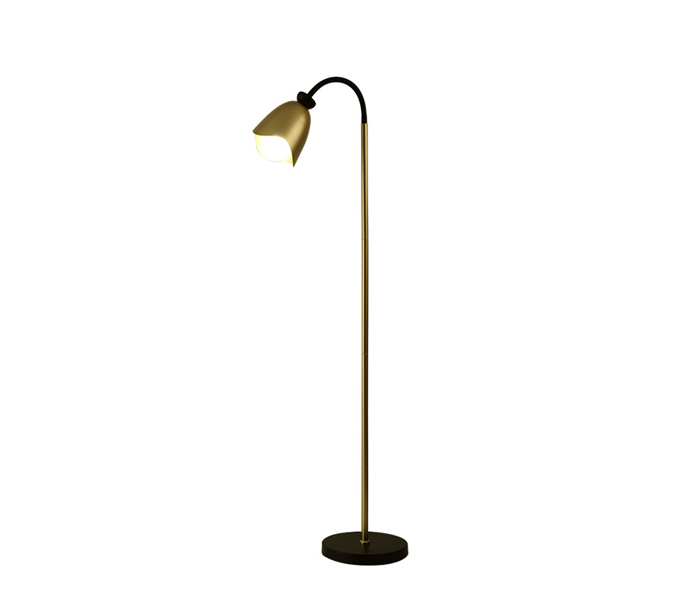 Gold Iron Floor Lamp with Black Marble Base