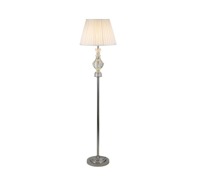 Modern Iron Crystal Floor Lamp with White Lampshade
