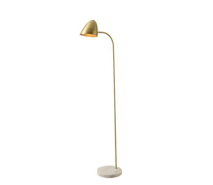 Brass Elegant Floor Lamp with White Marble Base