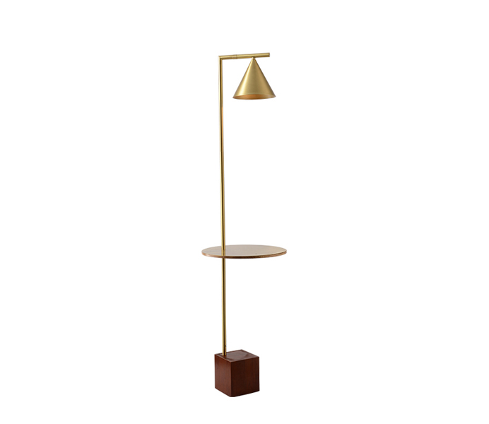Brass Gold Floor Lamp with Red Wood Base