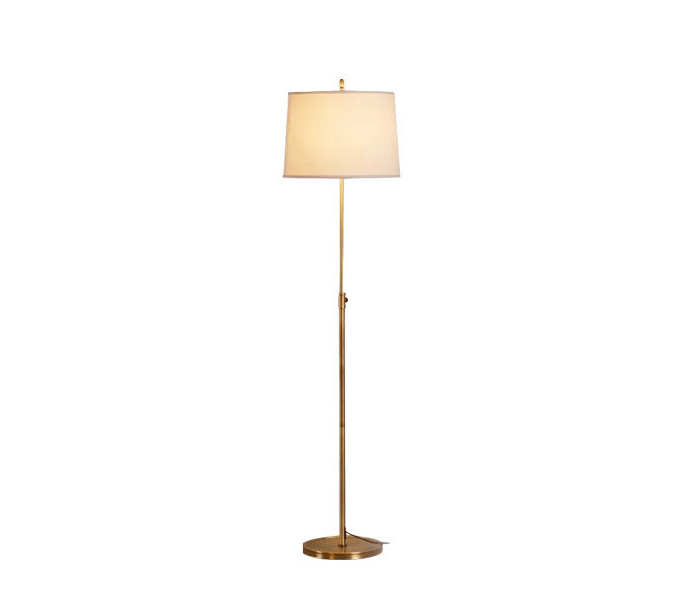 Simple Brass Floor Lamp with White Lampshade