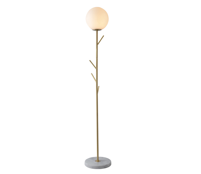Brass Tree Branch Gold Floor Lamp with Glass Shade