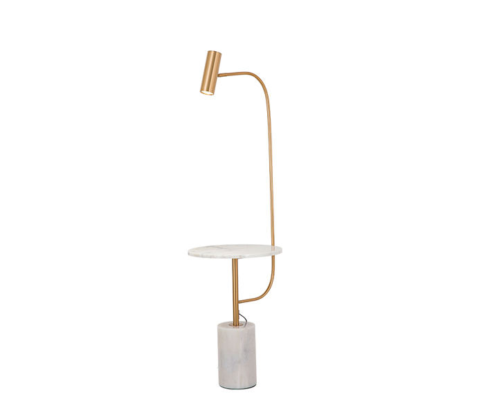 Gold Iron Floor Lamp with Marble Table Base