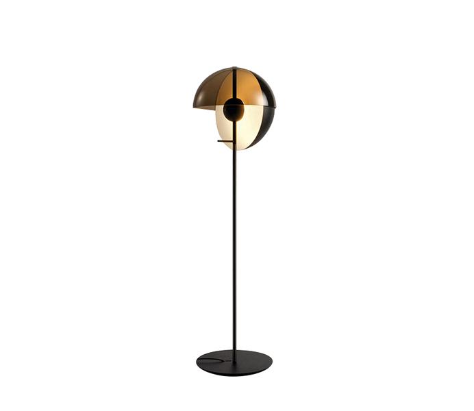 White Iron Floor Lamp with White Glass Shade