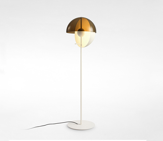 White Iron Floor Lamp with White Glass Shade