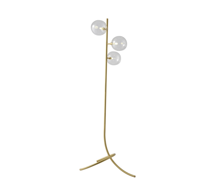 Brass 3 Lights Bent Floor Lamp with Glass Shade