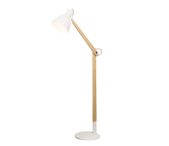 Wood E27 Floor Lamp with Iron Shade