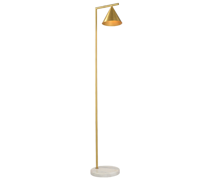 Brass E27 Floor Lamp with White Marble Base