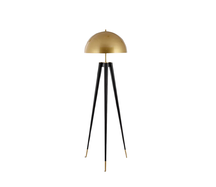Black Tripods Floor Lamps with Gold Iron Shade
