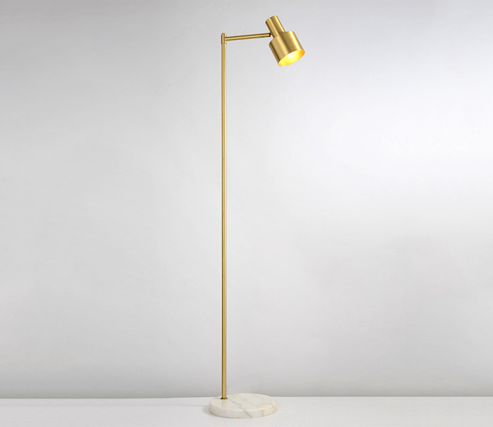 Brass Gold Floor Lamp with White Marble