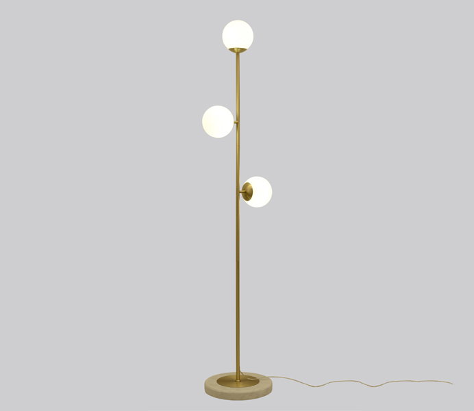 3 Lights Brass Floor Lamp with Marble Base