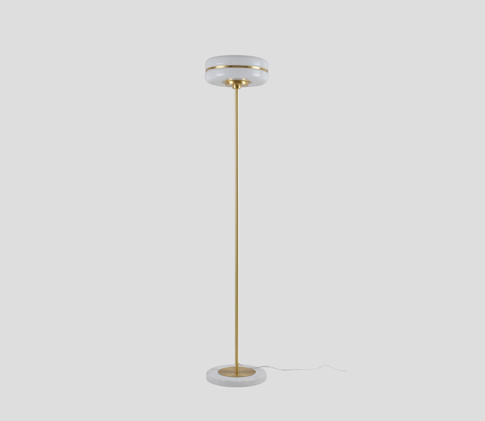 Brass Base Floor Lamp with Acrylic Shade