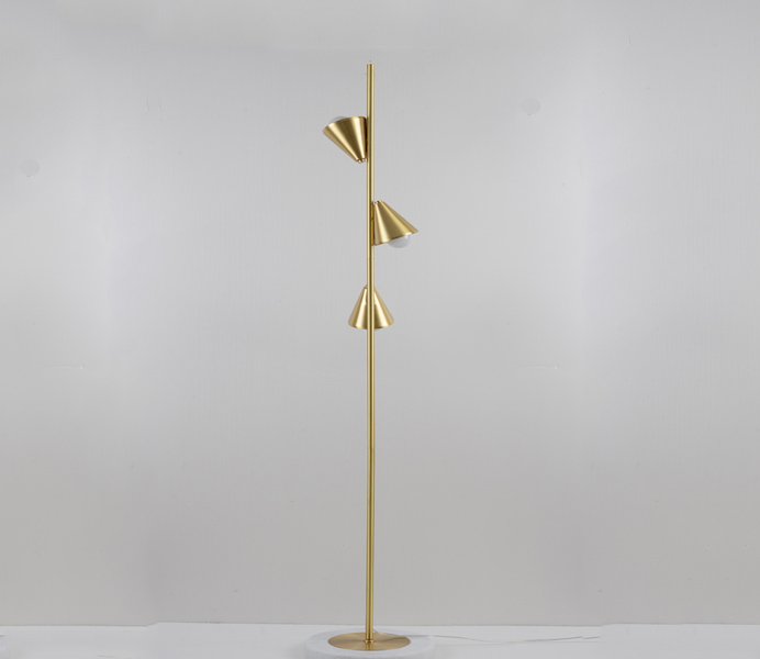 Brass 3 Lights Floor Lamp for Living Room
