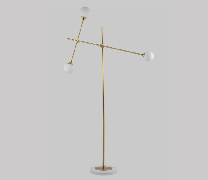 3 Lights Brass Marble Base Floor Lamp with G9