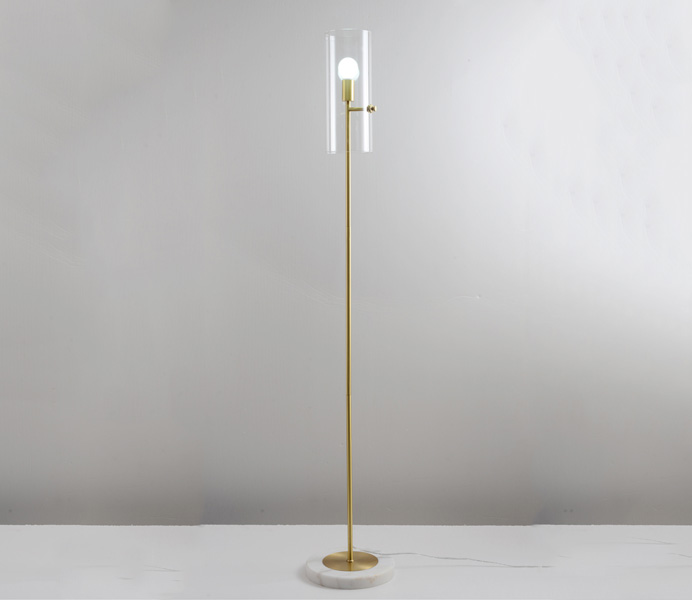 Brass Marble Floor Lamp with Glass Shade