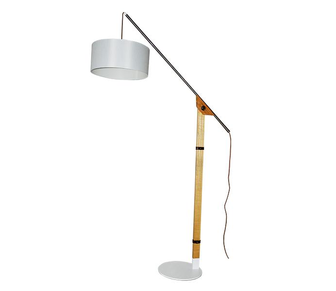Wood Iron Base Floor Lamp with White Lampshade