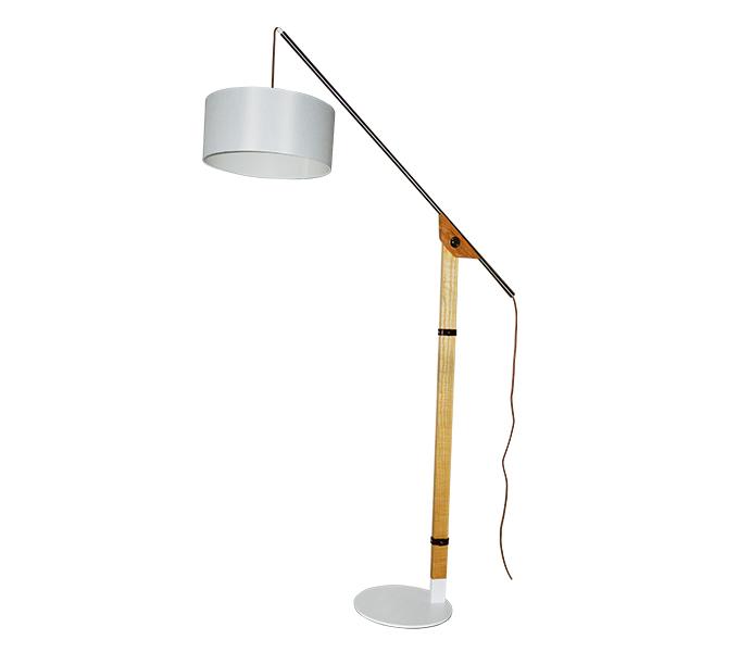 Wood Iron Base Floor Lamp with White Lampshade