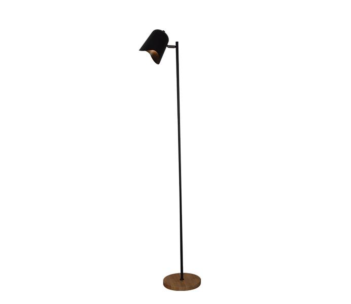 Black Iron E14 Floor Lamp with Wood Base