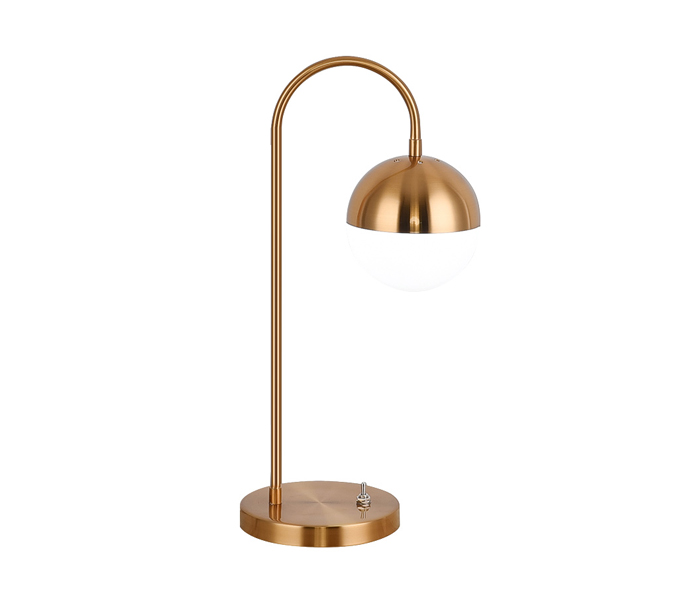 Gold Finish Iron Table Lamp with Ball Shade