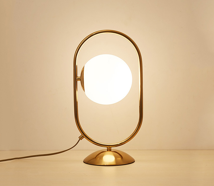 Gold Iron Table Lamp with Ball Glass Shade
