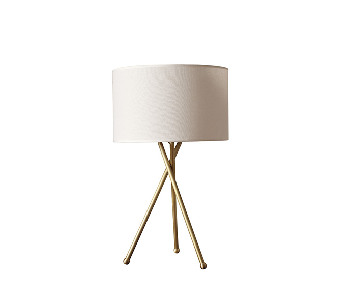 Brass Tripods Table Lamp with Fabric Shade