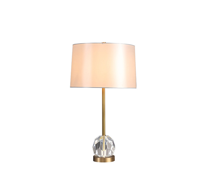 Modern Brass Crystal Table Lamp with Fabric