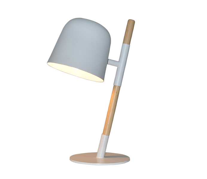 Nordic Style Metal Wood Table Lamp with White Finish