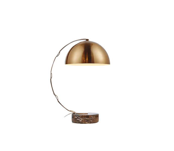 Gold Metal Bent Arm Table Lamp with Marble Base