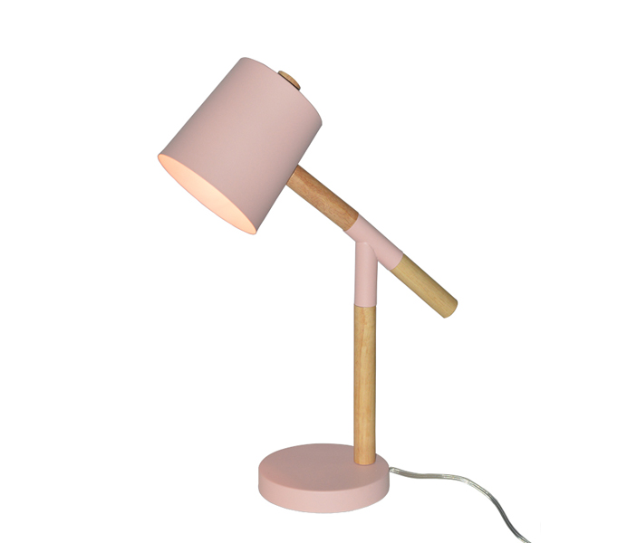 Cute Pink Metal Table Lamp with Wood