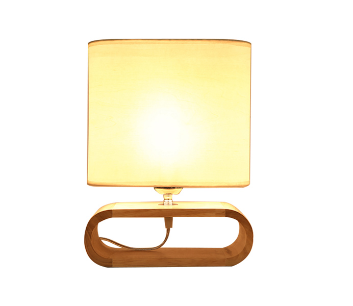 Bentwood E27 Bedroom Table Lamp with White Shade