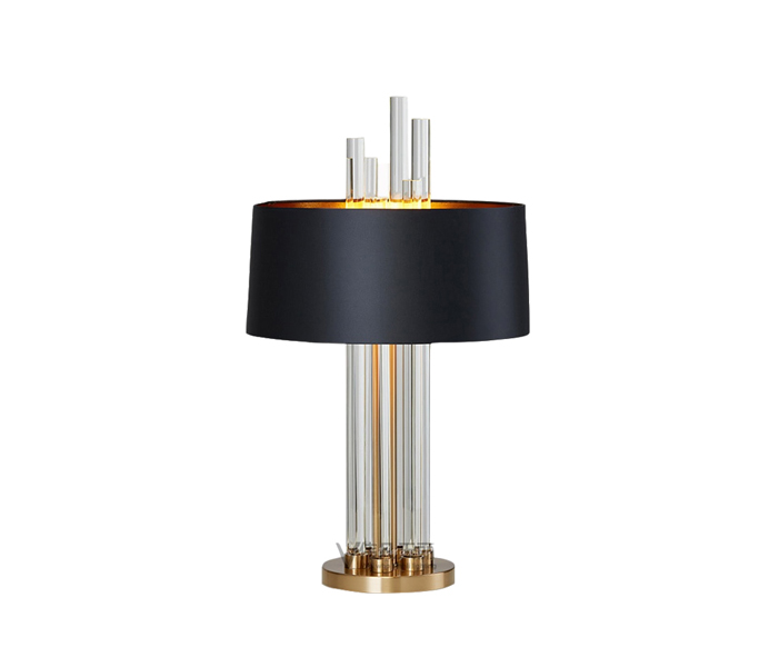 Gold Metal Glass Base Table Lamp with Black Fabric Shade