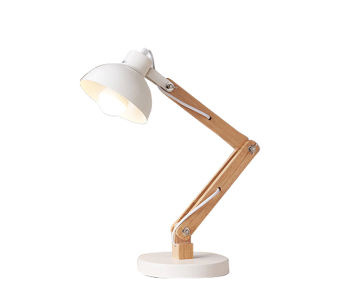 Hot Sale White Metal Shade Table Lamp with Wood