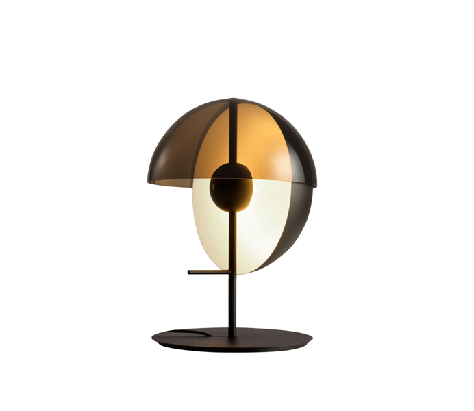 Dia300mm Black Metal Table Lamp with Smoke Glass Shade