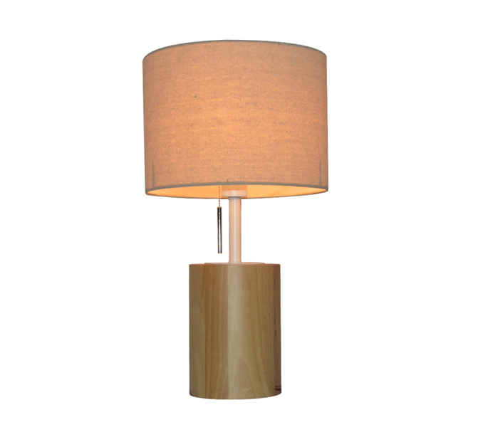 E27 Solid Wood Table Lamp with Fabric Shade