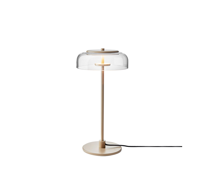Gold Metal LED Table Lamp with Clear Glass Shade