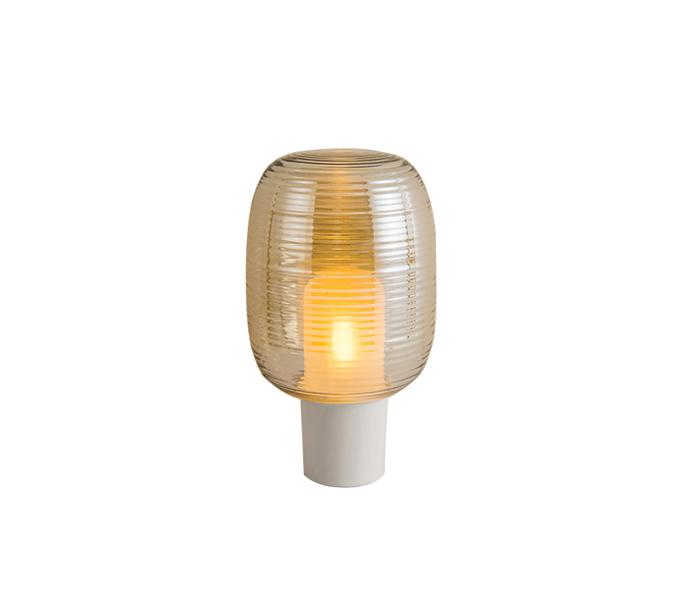 White Aluminum E14 Table Lamp with Glass Shade