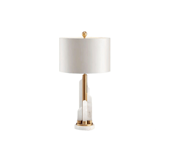 Gold Metal White Marble Table Lamp with White Fabric