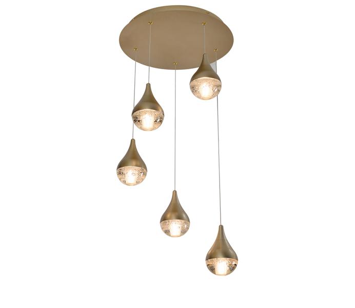 Brown 9W Aluminum Crystal Raindrop Pendant Light
