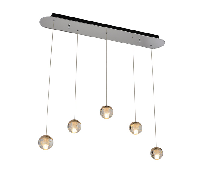 Aluminum Brushed Gold G4 Pendant Light with Crystal Ball