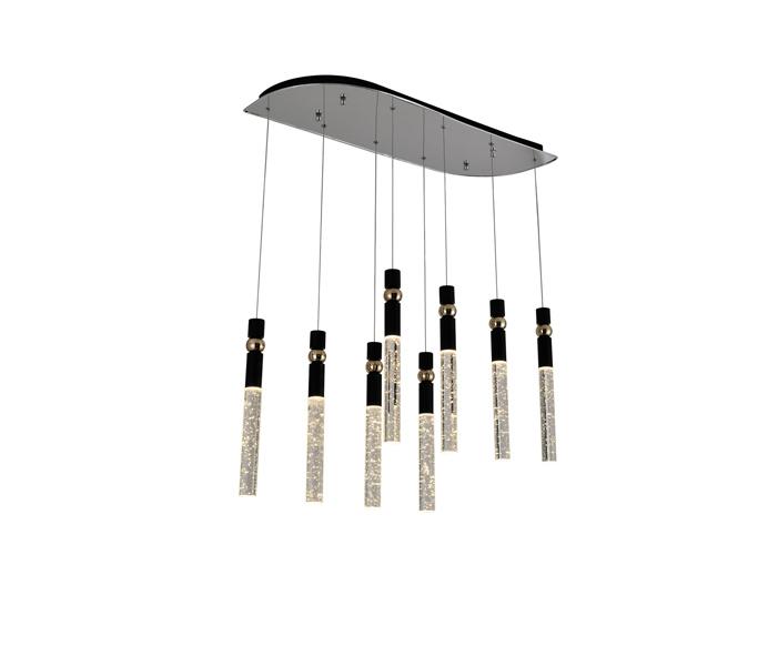 Crystal Bar Brushed Black Aluminum Pendant Light with 3W