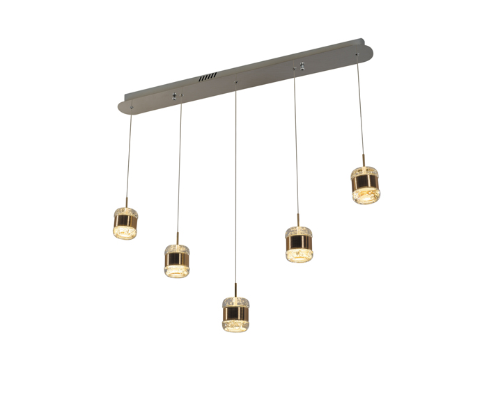 Rose Gold Aluminum 10W Box Pendant Light with Crystal